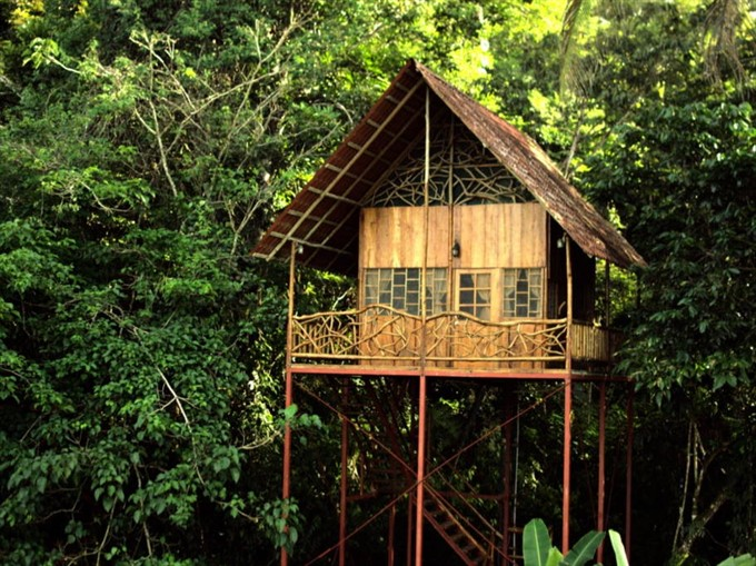 1. Relax in natural hot and cool springs at a rainforest tree house in Costa Rica
