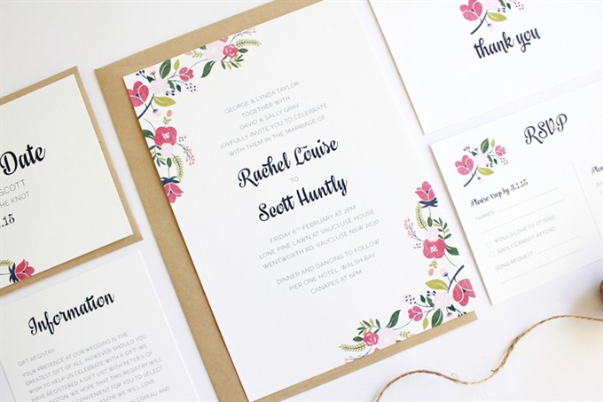 The Bride's Diary | Styling With Folk Art | Floral Wedding Stationery