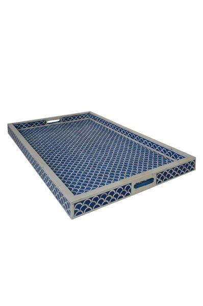 Bone Inlay Tray Large - Fish Scale Dark Blue