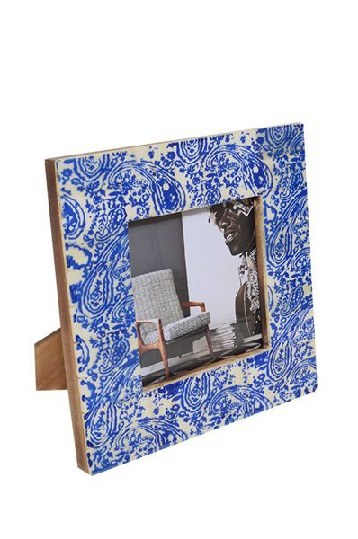 Bone Inlay Photo Frame - Blue Paisley