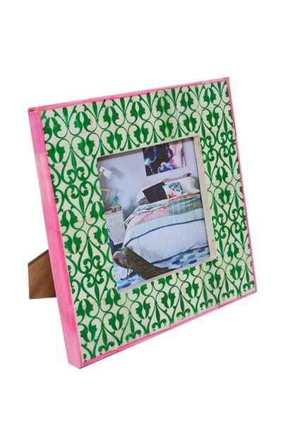 Bone Inlay Photo Frame - Green Ornate