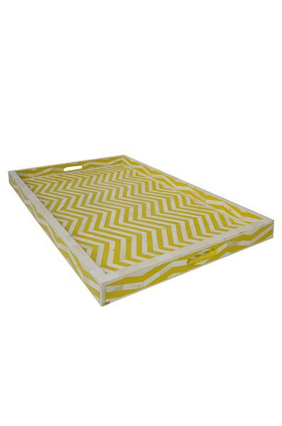 Bone Inlay Tray Large - Zig Zag Yellow
