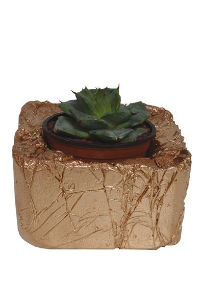 Concrete Pot Square Nugget - Copper
