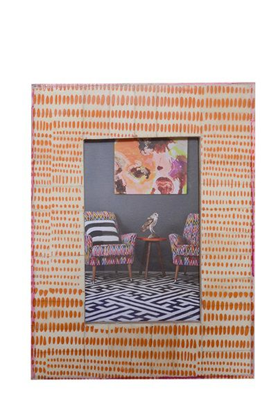Bone Inlay Photo Frame - Orange Dot