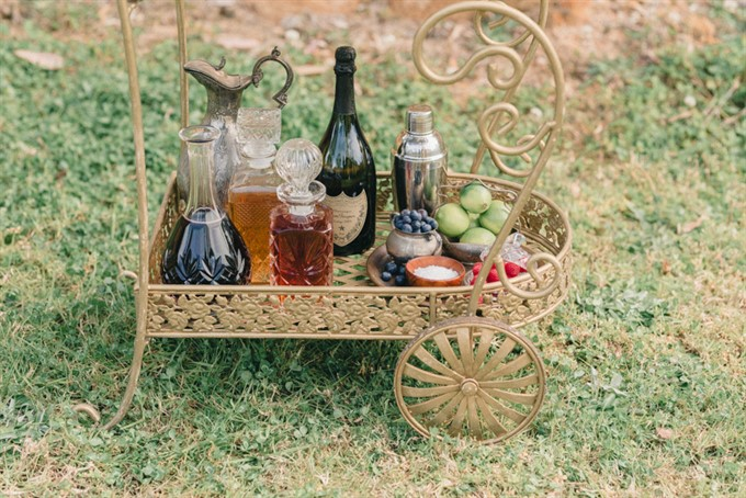 Vintage Patina's Bohemian Glam Styled Shoot - Drinks Trolley