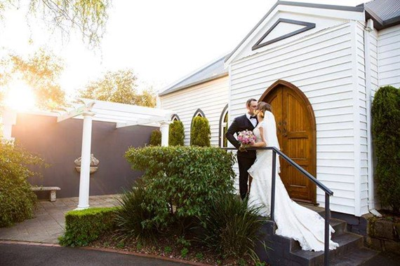 Ballara Receptions | Wedding Venue | Couple outside the Chapel