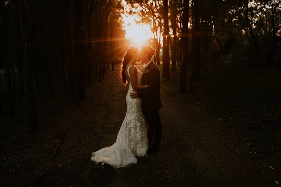 The Evoke Company | Wedding Photography | Bride And Groom | Sunset Kiss